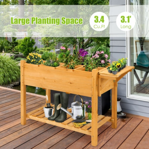 Gymax Raised Garden Bed Elevated Planter Box Kit w/8 Grids & Folding Tabletop Perspective: left