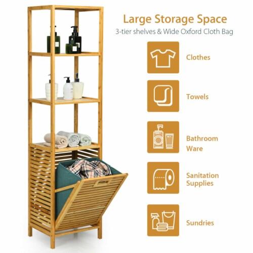 Gymax Bathroom Tilt-out Laundry Hamper Bamboo Tower Hamper w/3-Tier Shelves Perspective: left