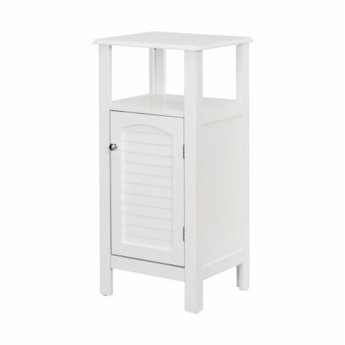 Elegant Home Fashions Wooden Bathroom Floor Cabinet & Shelf 1 Door White S0669 Perspective: left