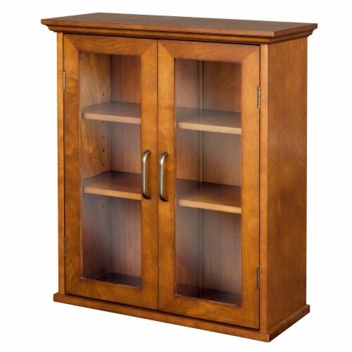 Elegant Home Fashions Wooden Bathroom Wall Cabinet 2 Doors Brown Oak ELG-540 Perspective: left
