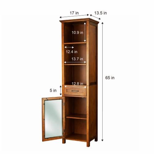 Elegant Home Fashions Wooden Bathroom Cabinet Linen & 1 Drawer Brown Oak ELG-544 Perspective: left
