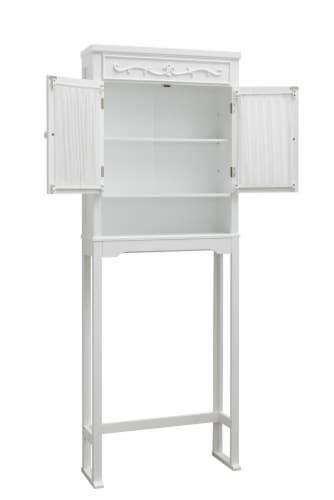 Elegant Home Fashions Bathroom Cabinet Over Toilet 2 Doors & Shelf White 7008 Perspective: left