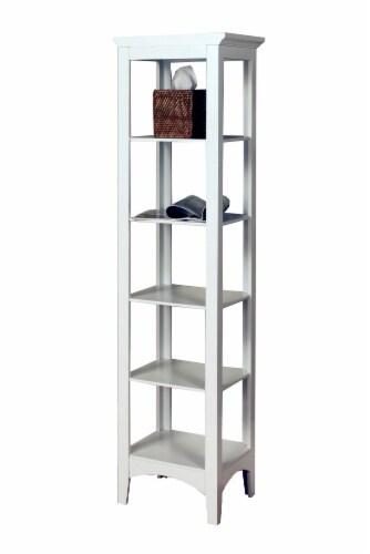 Elegant Home Fashions Wooden Bathroom Cabinet Linen Storage Standing White 7091 Perspective: left
