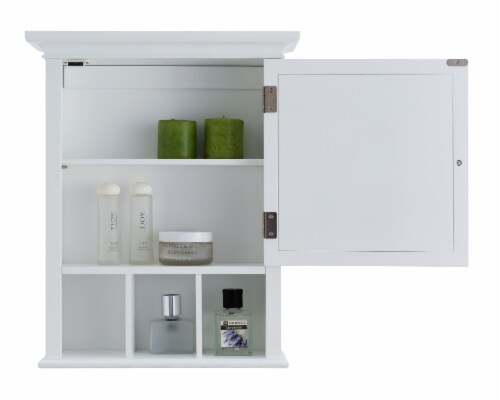 Elegant Home Fashions Neal 1-Door Medicine Cabinet in White Perspective: left