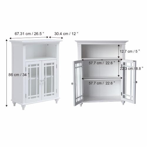 Elegant Home Fashions Wooden Bathroom Floor Cabinet 2 Doors Neal White 7466 Perspective: left