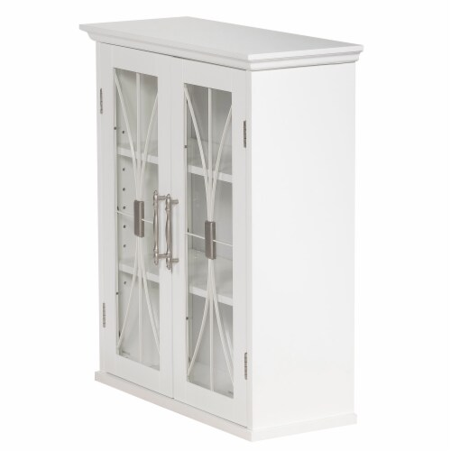 Elegant Home Fashions Delaney 2-Door Wall Cabinet in White Perspective: left
