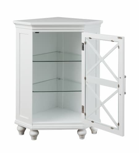 Elegant Home Fashions Wooden Bathroom Corner Floor Cabinet White ELG-631 Perspective: left
