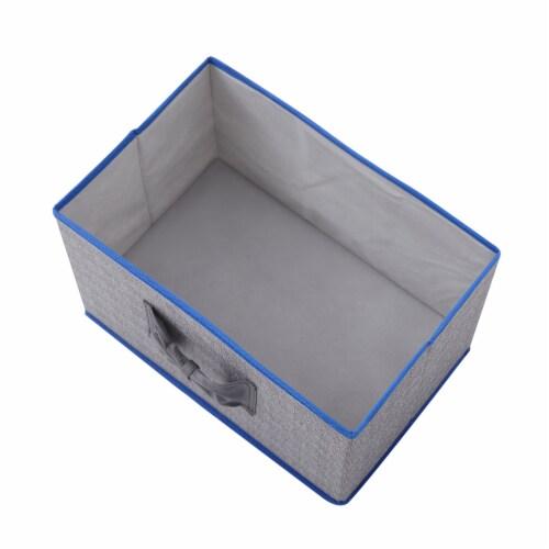 Elegant Home Fashions Soft Storage Boxes Set Of 2 Lid & Handle Grey/Blue YN95092 Perspective: left