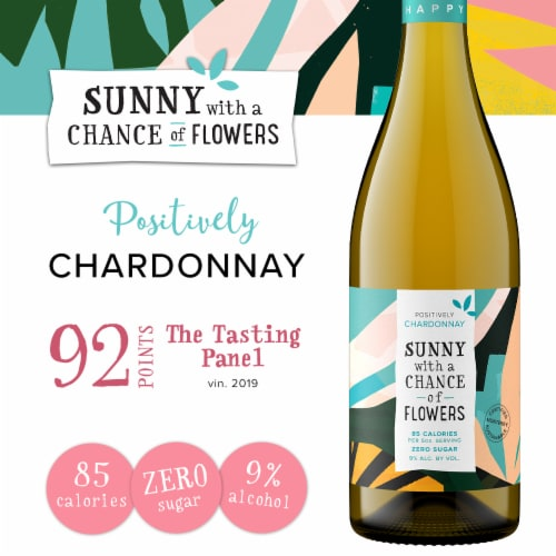 Sunny with a Chance of Flowers Chardonnay White Wine Perspective: left