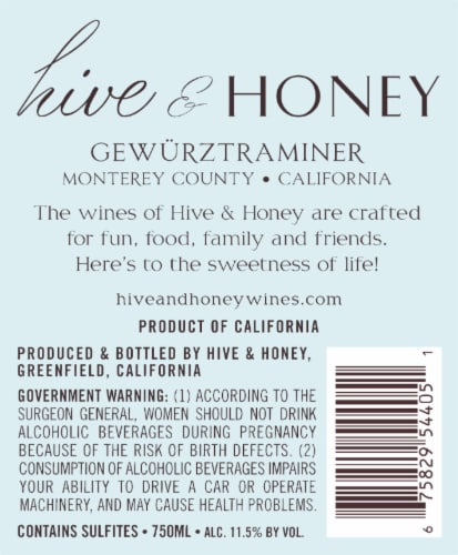 Hive & Honey Gewurztraminer Riesling Perspective: left