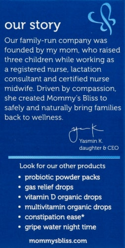 Mommy's Bliss Probiotic Drops + Vitamin D Liquid Dietary Supplement Perspective: left