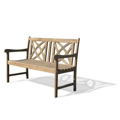 Wood Outdoor Bench in Natural Brown-Pemberly Row Perspective: left