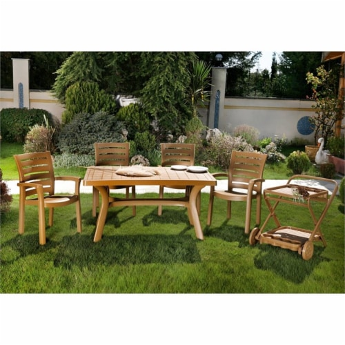 """5 Piece 55"""""""" Resin Patio Dining Table with 4 Resin Dining Arm Chair Set in Brown Perspective: left"""