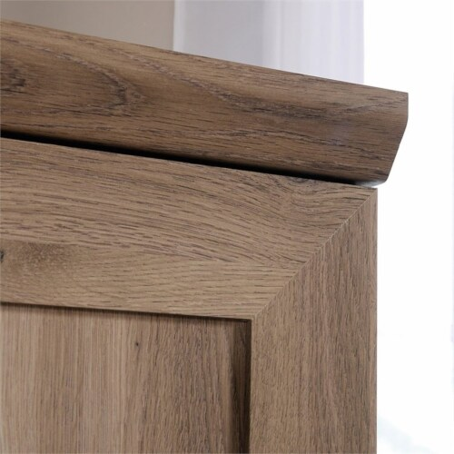 Pemberly Row Wardrobe Armoire with 1-Drawer in Salt Oak Perspective: left