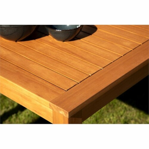 Stonecroft Furniture Nathan Eucalyptus Wood Outdoor Dining Table in Brown Perspective: left