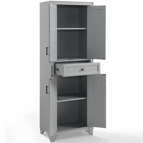 Pemberly Row 4 Door Pantry in Distressed Gray Perspective: left