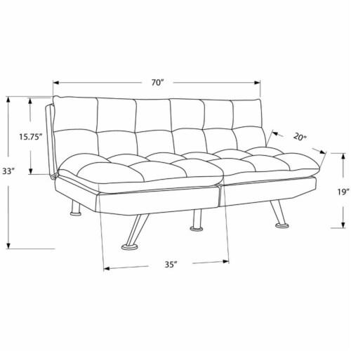 Monarch 70  Biscuit Fabric Tufted Pillow Top Split Back Futon in Dark Gray Perspective: left