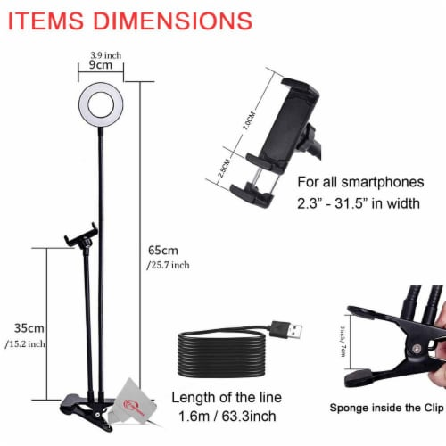 Selfie Ring Light+ Cell Phone Holder +3 Color Modes, Desk Clamp Clip Perspective: left