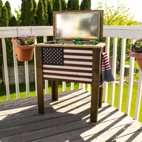 Backyard Expressions 57 Qt. Decorative Outdoor American Flag Cooler Perspective: left