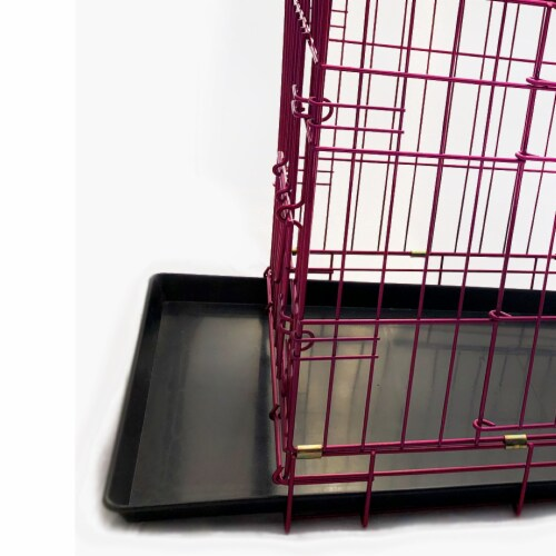 Backyard Expressions Pink 24 Inch Foldable Double Door Metal Pet Crate Perspective: left