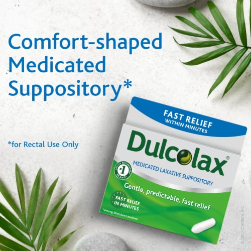 Dulcolax® Fast Relief Medicated Laxative Comfort Shaped Suppositories Perspective: left