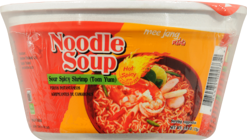 Mee Jang Sour Spicy Shrimp Tom Yum Noodle Soup Perspective: left