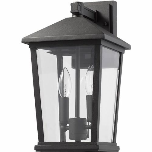 Z-Lite Beacon 2 Light 15  Clear Glass Aluminum Outdoor Wall Sconce in Black Perspective: left