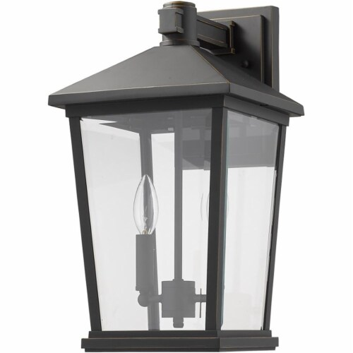 Z-Lite Beacon 2 Light 18  Clear Glass Aluminum Outdoor Wall Sconce in Bronze Perspective: left