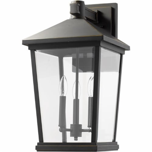 Z-Lite Beacon 3 Light 23  Clear Glass Aluminum Outdoor Wall Sconce in Bronze Perspective: left