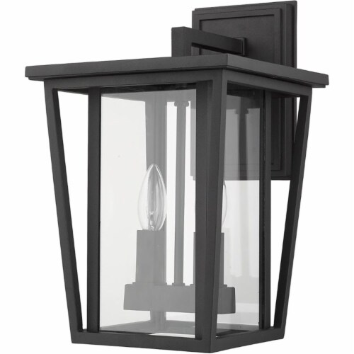 Z-Lite Seoul 2 Light 15  Clear Glass Aluminum Outdoor Wall Sconce in Black Perspective: left