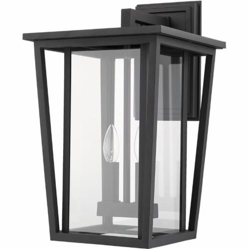 Z-Lite Seoul 2 Light 19  Clear Glass Aluminum Outdoor Wall Sconce in Black Perspective: left