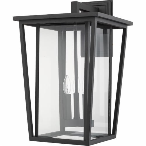 Z-Lite Seoul 3 Light 23  Clear Glass Aluminum Outdoor Wall Sconce in Black Perspective: left