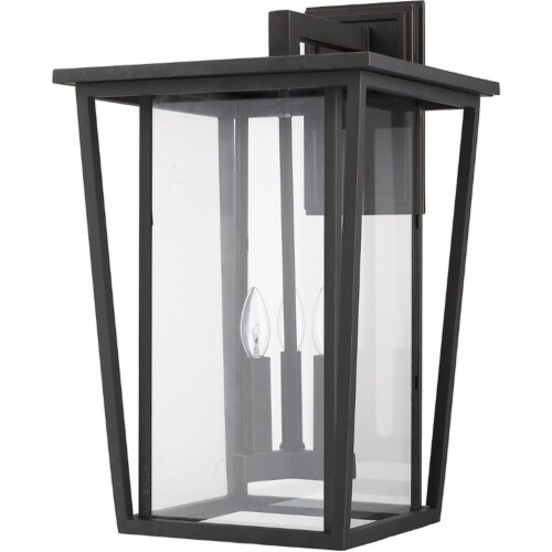 Z-Lite Seoul 3 Light 23  Clear Glass Aluminum Outdoor Wall Sconce in Bronze Perspective: left