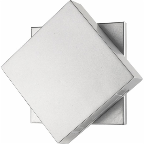 Z-Lite Quadrate 9  Sand Blast Glass Aluminum Outdoor LED Wall Sconce in Silver Perspective: left