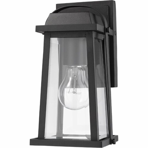 Z-Lite Millworks Clear Glass Aluminum Outdoor Wall Sconce in Black Perspective: left
