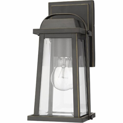 Z-Lite Millworks Clear Glass Aluminum Outdoor Wall Sconce in Bronze Perspective: left