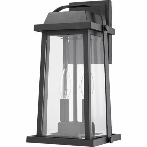Z-Lite Millworks 2 Light Clear Glass Aluminum Outdoor Wall Sconce in Black Perspective: left