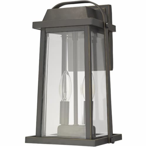 Z-Lite Millworks 2 Light Clear Glass Aluminum Outdoor Wall Sconce in Bronze Perspective: left