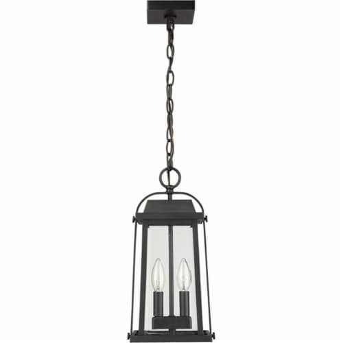 Z-Lite Millworks 2 Light Clear Glass Aluminum Outdoor Pendant in Black Perspective: left