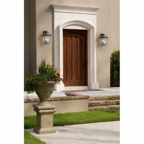 Z-Lite Talbot 3 Light 18  Seedy Glass Steel Outdoor Wall Sconce in Bronze Perspective: left