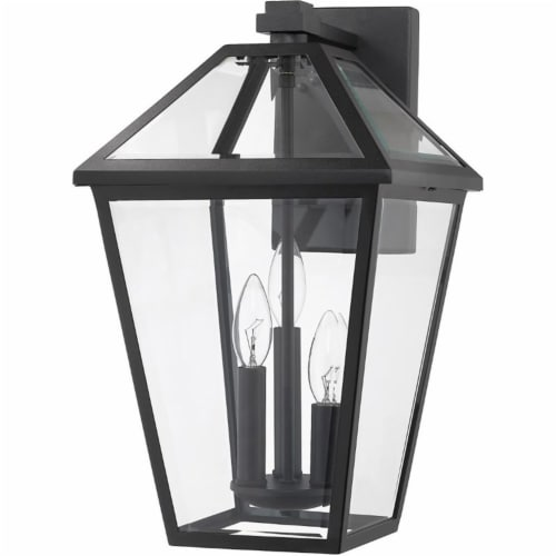 Z-Lite Talbot 3 Light 21  Clear Glass Steel Outdoor Wall Sconce in Black Perspective: left