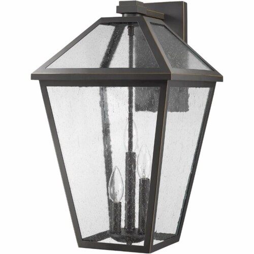 Z-Lite Talbot 3 Light 21  Seedy Glass Steel Outdoor Wall Sconce in Bronze Perspective: left