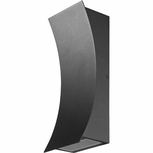 Z-Lite Landrum 2 Light 12  Glass Aluminum Outdoor LED Wall Sconce in Black Perspective: left