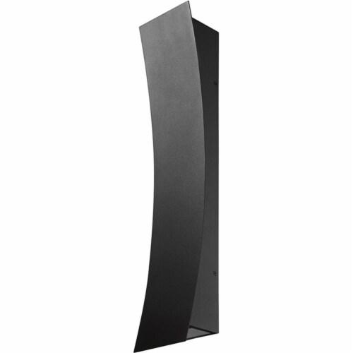 Z-Lite Landrum 2 Light 28  Glass Aluminum Outdoor LED Wall Sconce in Black Perspective: left