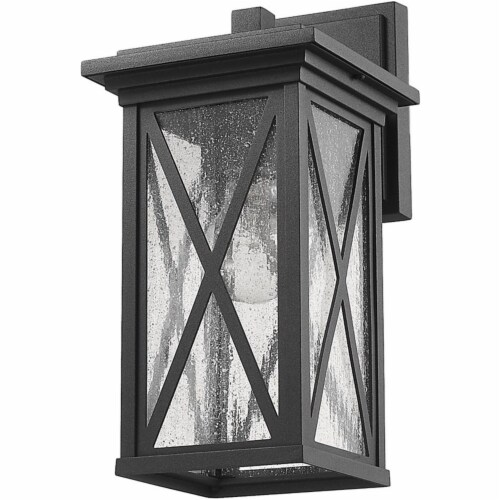 Z-Lite Brookside 12  Seedy Glass Aluminum Outdoor Wall Sconce in Black Perspective: left