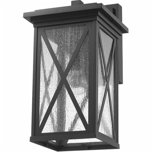 Z-Lite Brookside 18  Seedy Glass Aluminum Outdoor Wall Sconce in Black Perspective: left