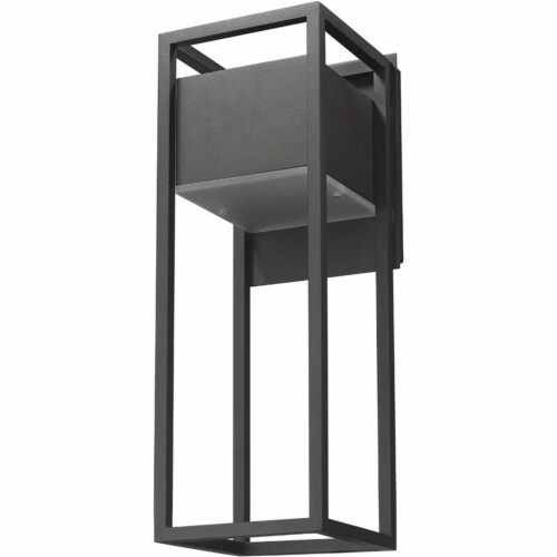 Z-Lite Barwick 18  Etched Glass Aluminum Outdoor LED Wall Sconce in Black Perspective: left
