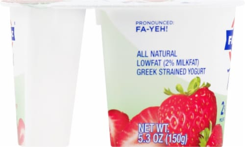 Fage Total 2% Milkfat Strawberry Greek Yogurt Perspective: left