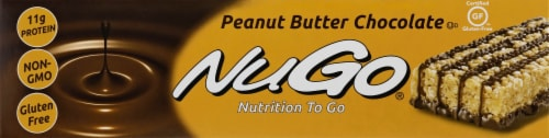 NuGo Nutrition To Go Bars Peanut Butter Chocolate Perspective: left