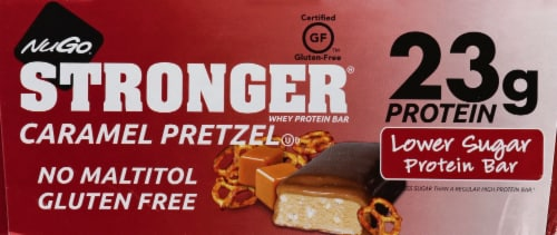 NuGo Stronger Caramel Pretzel Protein Bars Perspective: left
